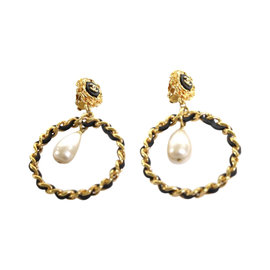 Chanel Gold Dangling Hoop Pearl Drop Leather Laced Clip On Earrings