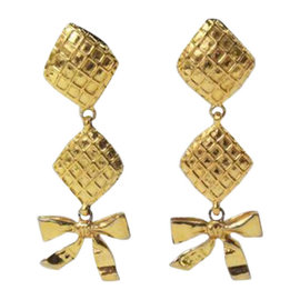 Chanel Gold Bow Dangle Clip On Earrings