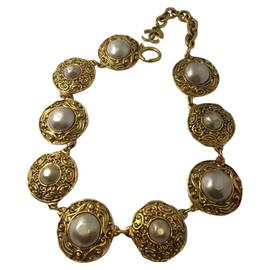 Chanel Gold Toned and Faux Pearl Necklace