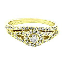 14K Yellow Gold Halo Cluster Real 0.60ct Diamond Split Shank Engagement Ring