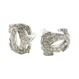 Cartier Double C Design White Gold Diamond Large Earrings