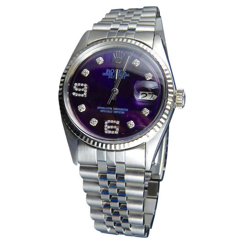 """Image of """"Rolex Datejust 18K /Steel Fluted Bezel Jubilee Blue Dial Diamond Mens"""""""