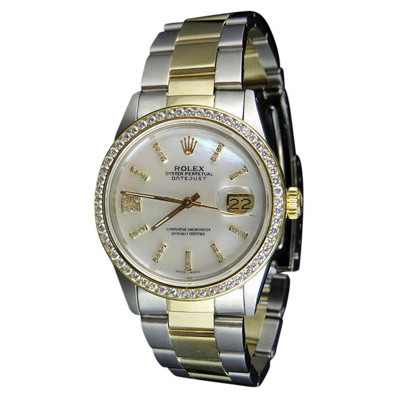 "Image of ""Rolex Datejust 2 Tone 18K Gold Steel Oyster Band 3.0ct Diamond Mens"""