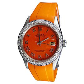 Rolex Datejust Orange Rubber Band 2.5 Ct Diamond WTCH-28072 36mm Watch