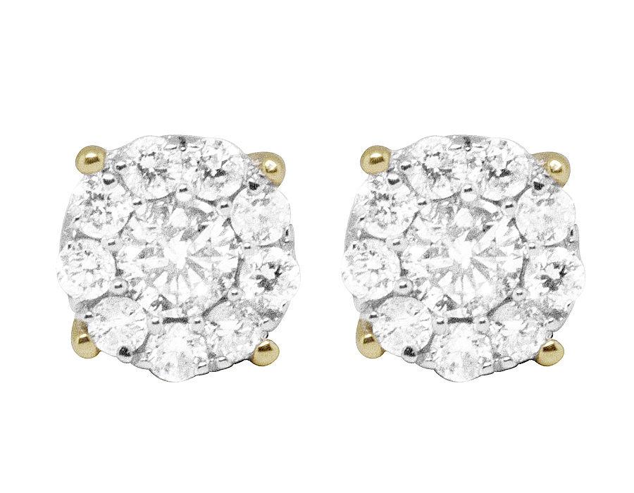 "Image of ""14K Yellow Gold Round Halo Studs Genuine 0.60ct Diamonds Earrings"""
