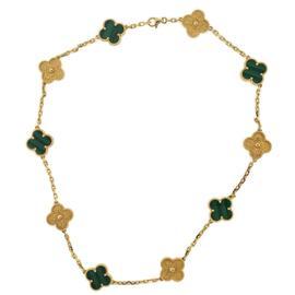 Van Cleef & Arpels 18K Yellow Gold Alhambra Multicolor 10 Motifs Necklace