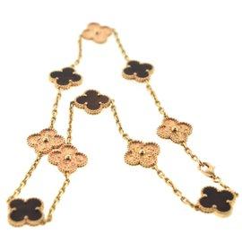 Van Cleef & Arpels 18K Rose Gold Bois d'Amourette Gold 10 Motif Alhambra Necklace
