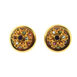 14K Yellow Gold and Multi-Colored Gemstone Earrings