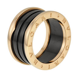 Bulgari 18K Rose Gold and Black Ceramic B.Zero1 4-Band Ring Size Medium