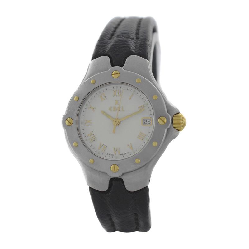 "Image of ""Ebel Sportwave E6087621 18K Gold Steel Date Quartz 28mm Womens Watch"""