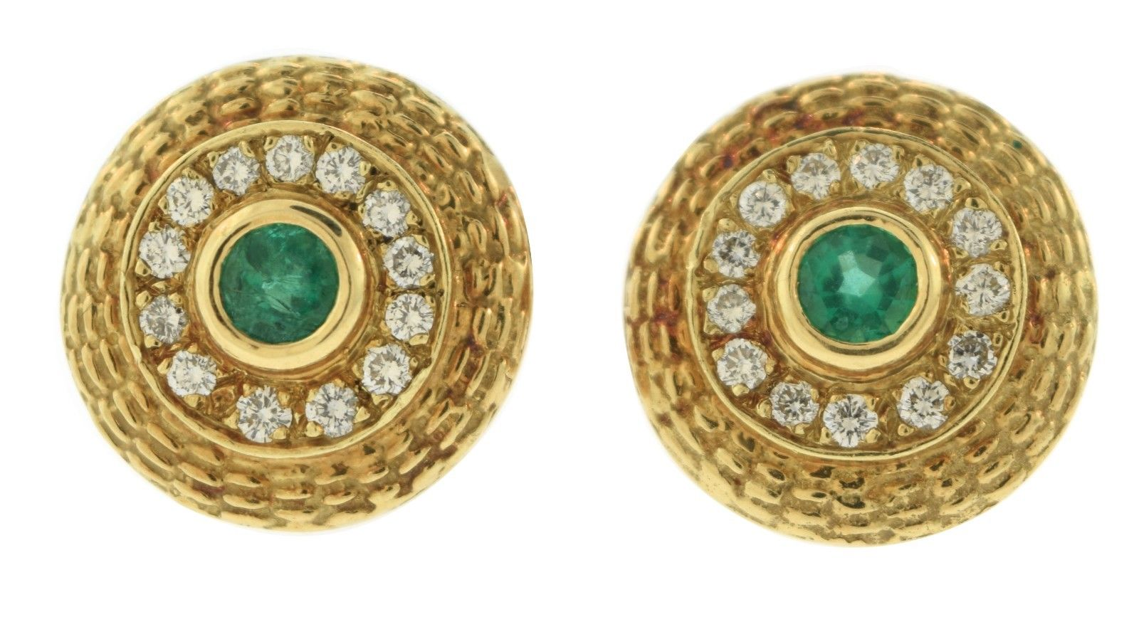 "Image of ""14K Yellow Gold 2.00 Ct Emerald Diamond Round Stud Earrings"""