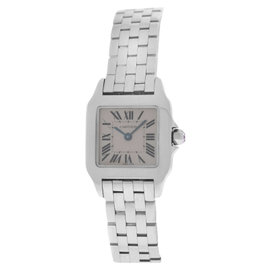 Cartier Santos Demoiselle 2698 Stainless Steel Pink Mother Of Pearl Womens Watch