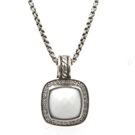David Yurman Albion Sterling Silver White Agate and Diamond Pendant Necklace