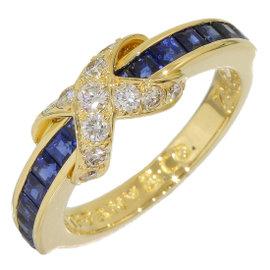 Tiffany & Co. 18K Yellow Gold Diamond & Sapphire Ring Size 5.25
