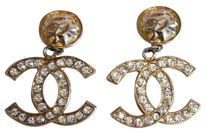 "Image of ""Chanel Gold Tone Metal Crystal CC Drop Dangle Earrings"""