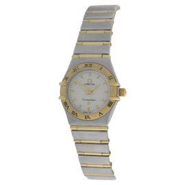 Omega Constellation Stainless Steel & 18K Yellow Gold Full Bar Steel Quartz 22mm Womens Watch