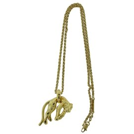 Cartier 18K Yellow Gold Panthère Panther Pendant Necklace