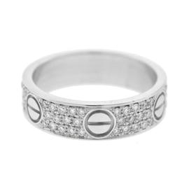 Cartier Love 18k White Gold 0.31 Ct Diamond Paved Wedding Band Ring Size 7.5