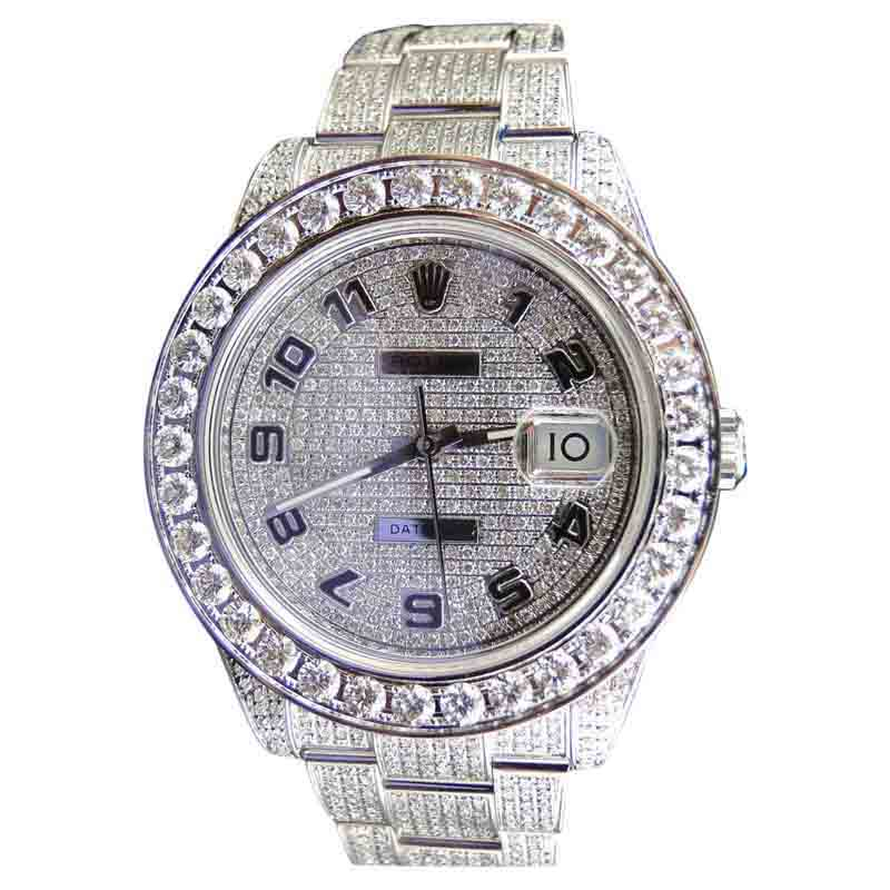 "Image of ""Rolex DateJust II Stainless Steel Iced Out Mens 45mm Watch"""