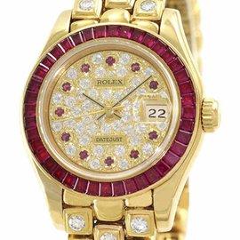 Rolex Datejust 69308 18K Yellow Gold Ruby Bezel & Diamond Dial Automatic 26mm Womens Watch