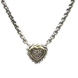 David Yurman 18K Yellow Gold Sterling Diamond Cable Heart Pendant Necklace