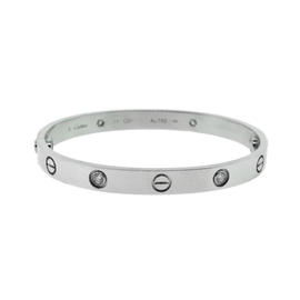 Cartier 18K White Gold Diamonds Love Bracelet Size 17
