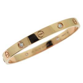 Cartier 18K Rose Gold Love Diamonds Bracelet Size 17