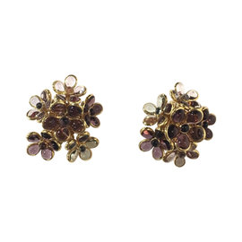 Chanel Vintage Gold-Tone Purple Clear Gripoix Flower Cluster Clip On Earrings