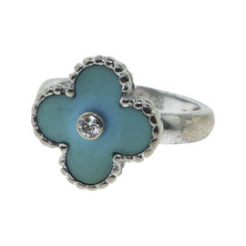 Van Cleef & Arpels Vintage Alhambra 18K White Gold Turquoise and 0.06 Ct Diamond Ring Size 5.25