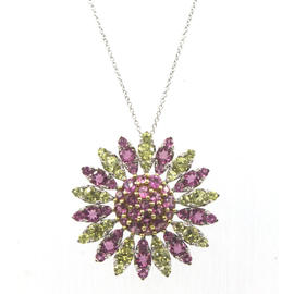 Pasquale Bruni 18K White Gold Yellow and Pink Sapphire Starburst Pendant Necklace