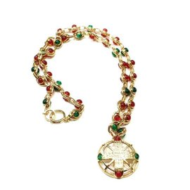 Chanel Vintage Gold-Tone Red and Green Cabochon Gripoix Necklace