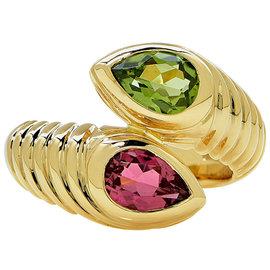 Bulgari 18K Yellow Gold with Pink Tourmaline & Peridot Tubogas Ring Size 6.0