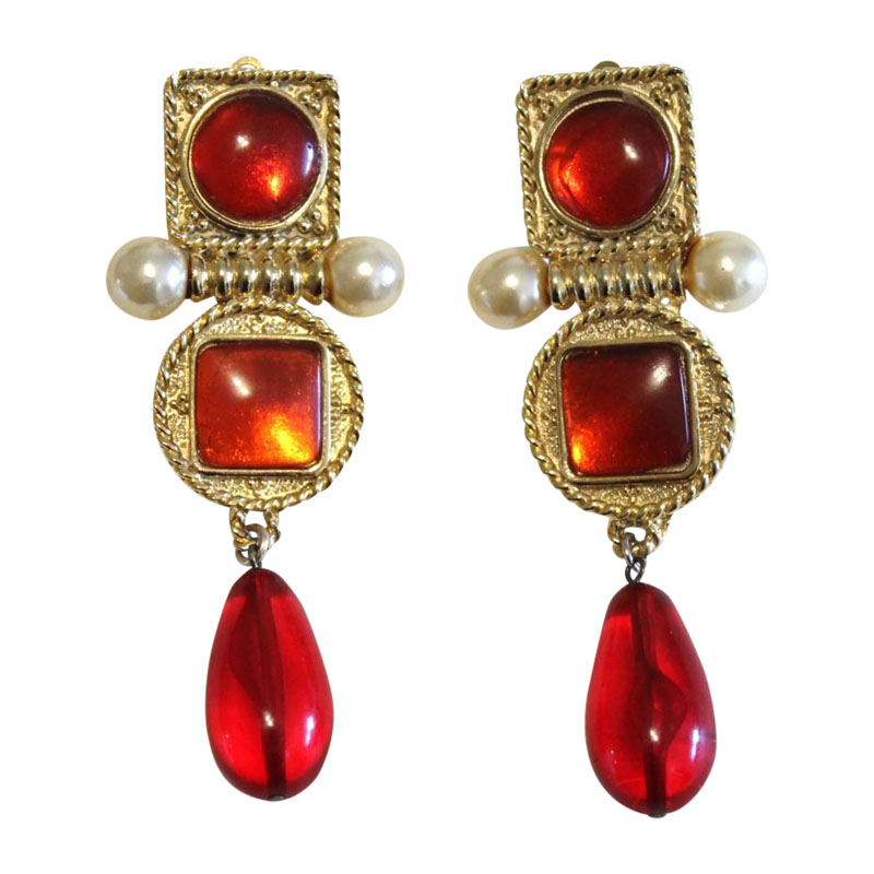 "Image of ""Chanel Gold Tone Metal Red Gripoix Pearl Clip On Drop Dangle Earrings"""
