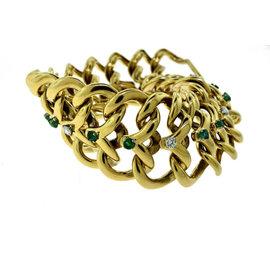 Van Cleef & Arpels 18K Yellow Gold Diamond Emerald Longchain Bracelet