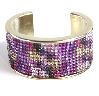 "Image of ""Chanel Gold Tone Metal Crystal Pink Purple Cuff Bracelet"""