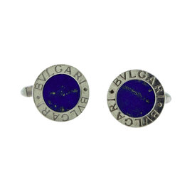 Bulgari 925 Sterling Silver and Lapis Lazuli Round Cufflinks