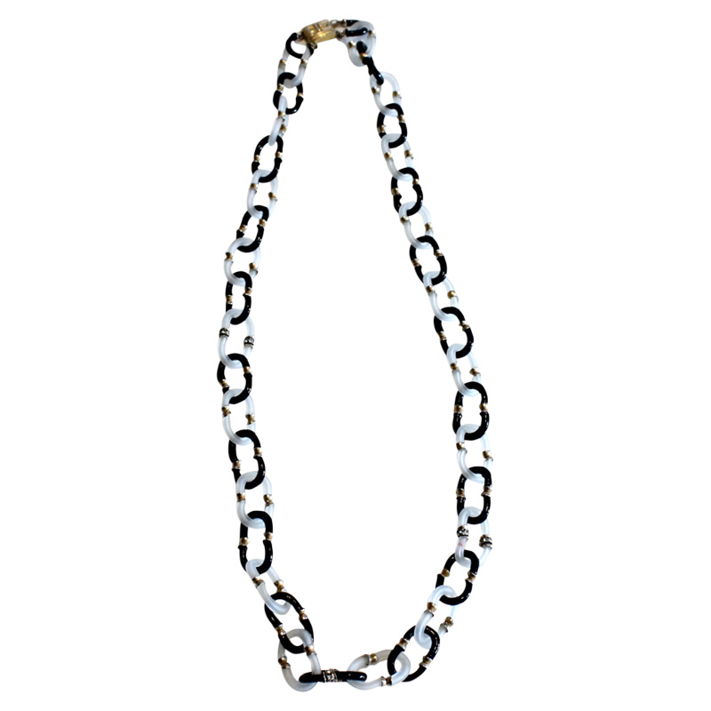 "Image of ""Chanel Frosted Venetian Glass Archimedes Seguso Link Necklace"""