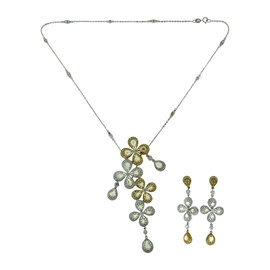 18K White Gold, 18K Yellow Gold and 18K Rose Gold Diamond 2 Piece Set Necklace, Brooch, Earrings