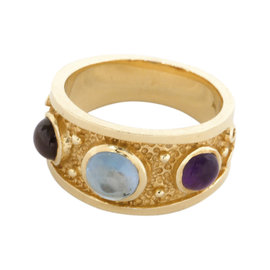 14K Yellow Gold Amethyst Rubellite and Aquamarine Ring Size 7.75