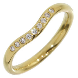 Tiffany & Co. 18K Yellow Gold Elsa Peretti Diamonds Curved Ring Size 4.75