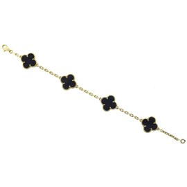 Van Cleef & Arpels Pure Alhambra 18K Yellow Gold and Onyx Bracelet
