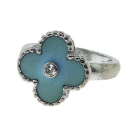 Van Cleef & Arpels Alhambra Turquoise Diamond Gold Ring Size 5.25