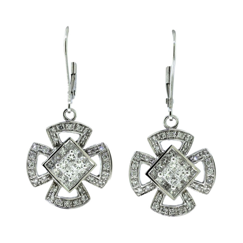 "Image of ""14K White Gold Diamond Square Cross Hanging Dangle Earrings"""