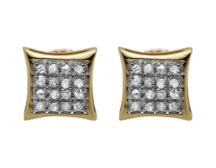 "Image of ""10K Yellow Gold Kite Pave Genuine Round Shaped Diamond Stud Earrings"""