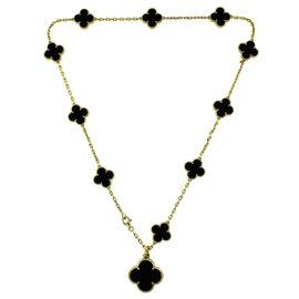 Van Cleef & Arpels Alhambra 18K Yellow Gold & Black Onyx Pendant Necklace