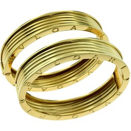 Bulgari B.zero1 18K Yellow Gold 4-Band Wide 2 Piece Set Bangle Bracelet