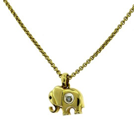 Chopard Happy Diamonds 18K Yellow Gold with Sapphire Eye Elephant Necklace