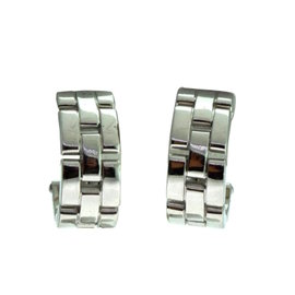 Cartier Maillon Panthère 18K White Gold Semi Hoop Earrings