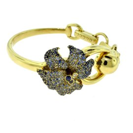Gucci 18K Yellow Gold Sapphire and Diamond Flora Skull Bracelet
