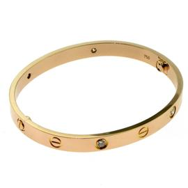 Cartier 18K Rose Gold Diamond Love Bracelet Size 18
